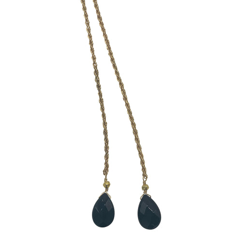 Black Agate Rope Chain Necklace + Bracelet (Short Length)