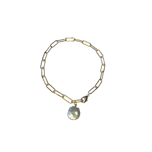 Pearl Paperclip Chain Anklet