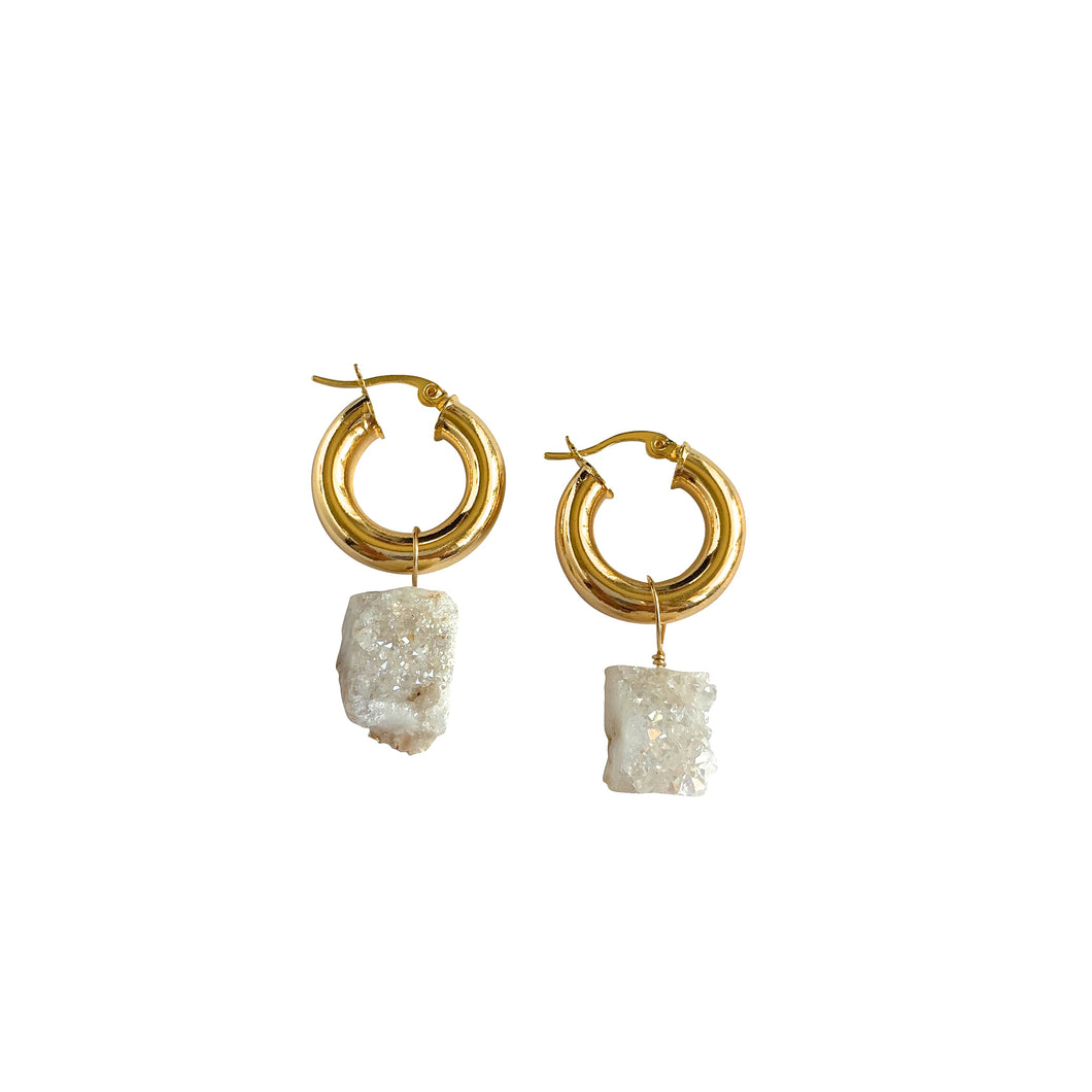 Druzy Calcite Small Gold Chunky Hoops