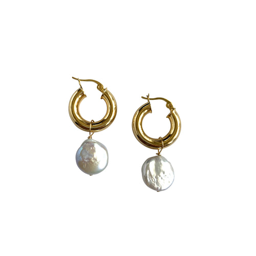 Pearl Disk Small Gold Chunky Hoops