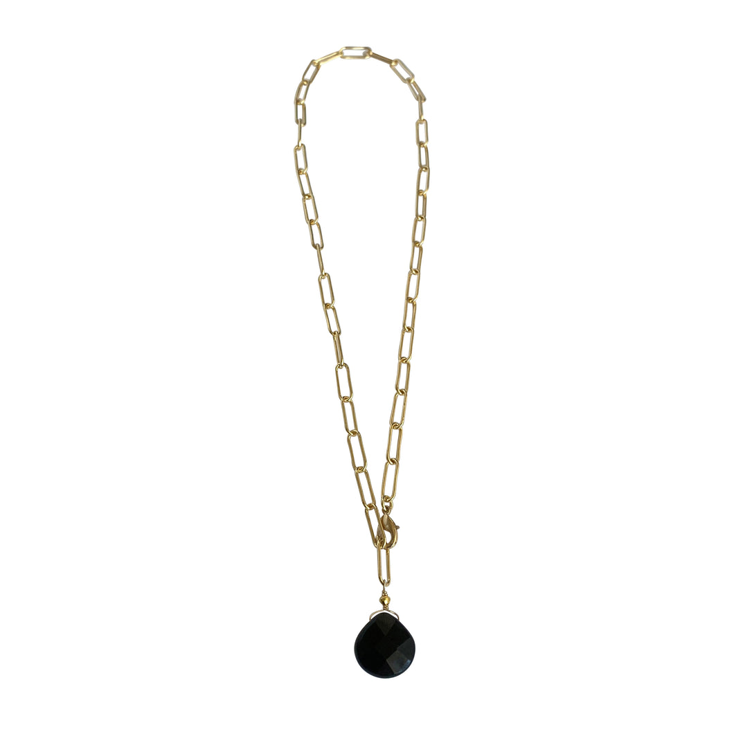 Black Agate Paperclip Chain Necklace
