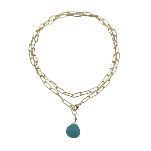 Amazonite Paperclip Chain Necklace + Bracelet