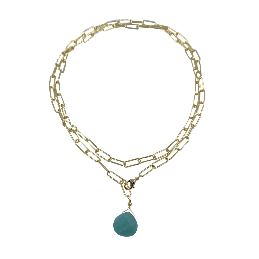 Amazonite Paperclip Chain Necklace + Bracelet Wrap
