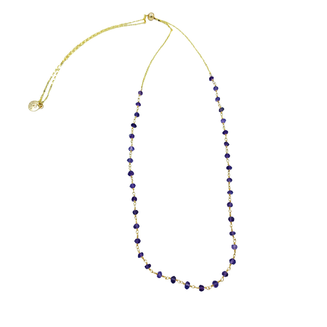 Amethyst Beaded Gemstone Adjustable Slider Necklace + Choker