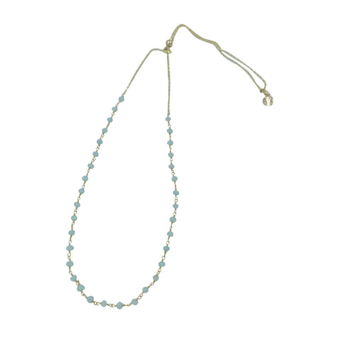 Aqua Chalcedony Beaded Gemstone Adjustable Slider Necklace + Choker