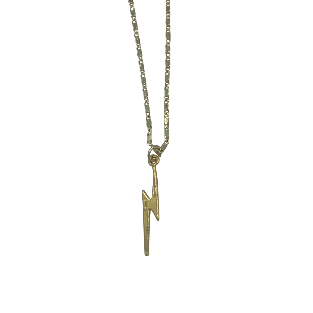 Gold Lightning Bolt Adjustable Necklace + Choker