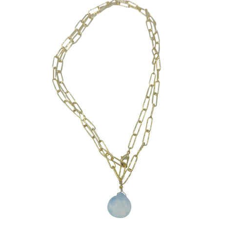 Opalite Paperclip Chain Necklace + Bracelet Wrap
