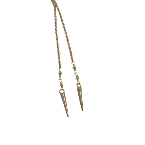 Gold Point Rope Chain Necklace + Bracelet (Long Length)