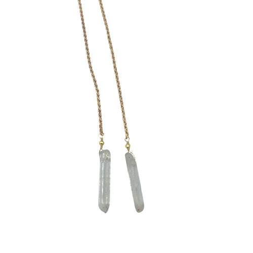 Clear Quartz Rope Chain Necklace + Bracelet (Long Length)