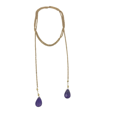 Amethyst Rope Chain Necklace + Bracelet (Long Length)