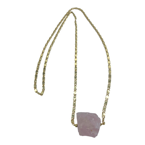 Raw Rose Quartz Long Layering Necklace