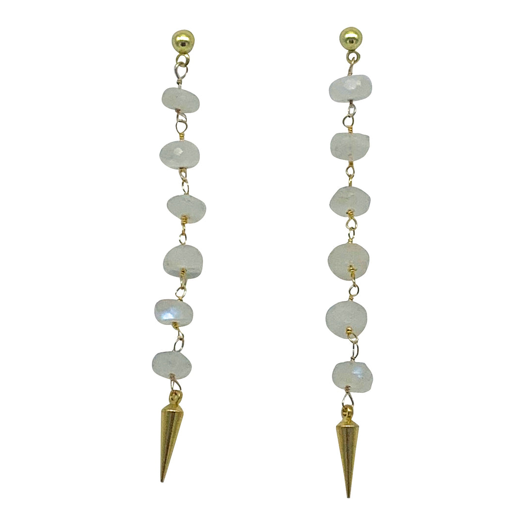 Moonstone Pointed Stone Dangle Earrings