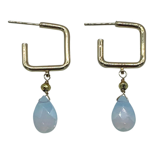 Opalite Square Gemstone Hoops
