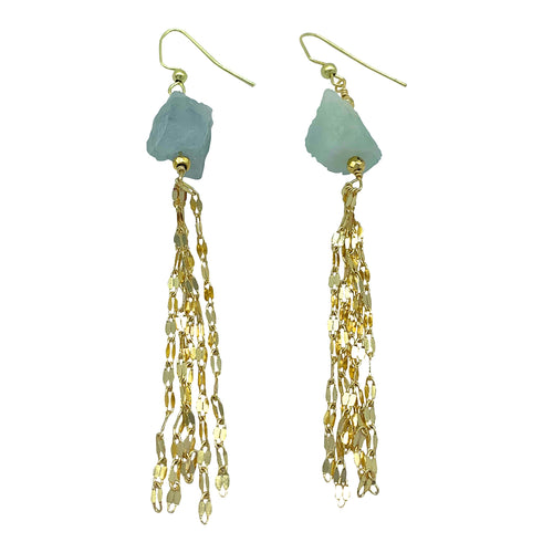 Raw Aquamarine Sparkly Tassel Earrings