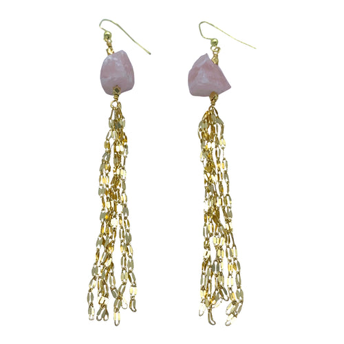 Raw Rose Quartz Sparkly Tassel Earrings