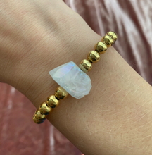 Gold X Raw Gemstone Stacking Stretch Bracelets