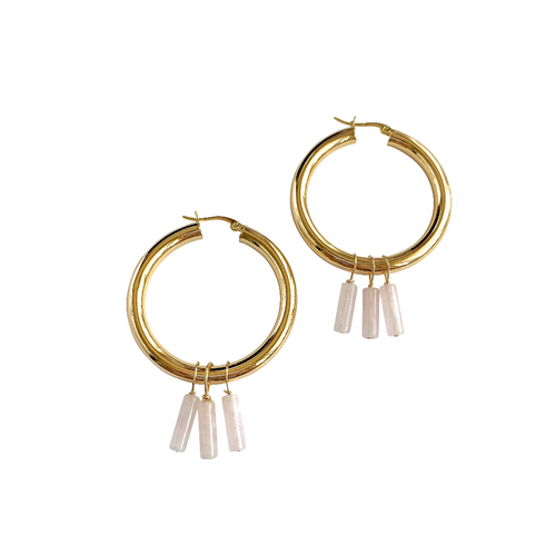 Rose Quartz Fringe Large Gold Hoops