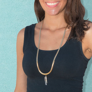 Clear Quartz Snake Chain Convertible Necklace + Choker