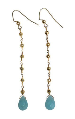 Amazonite Gold Pyrite Drop Earrings