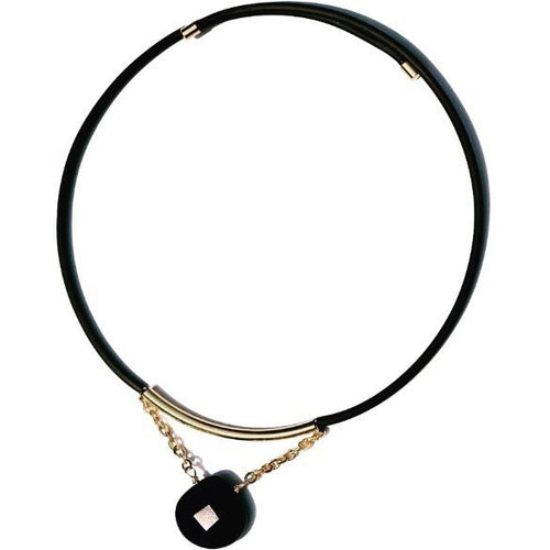 Black Agate Pop On Choker