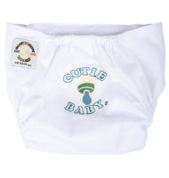 Egyptian Comb Cotton Velcro Diapers - White with Blue