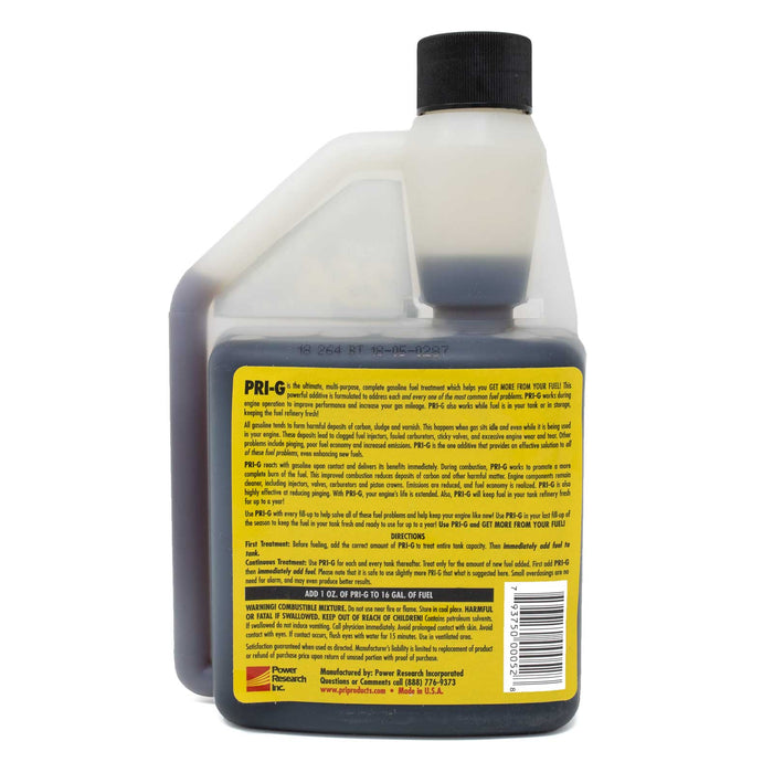 PRI-G GASOLINE TREATMENT. 16 OZ BOTTLE. TREATS 256 GALLONS OF FUEL. RATIO: 1/4 OZ FOR 4 GALLONS PRI Fuel Stabilizer - Gasoline [16 oz.] (Fuel Economy Booster)