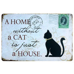 Vintage-Style Cat Metal Sign - A Home Without A Cat