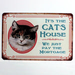 Vintage-Style Cat Metal Sign - It's The Cats House
