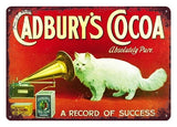 Vintage-Style Cat Metal Sign - Cadburys Cocoa