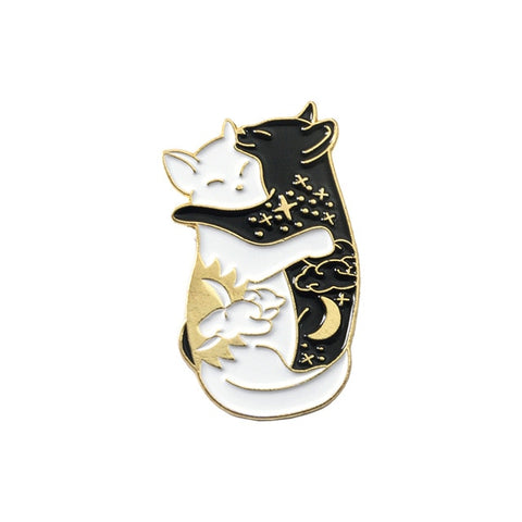 QIHE JEWELRY Yin Yang Pins Cats - squishbeans