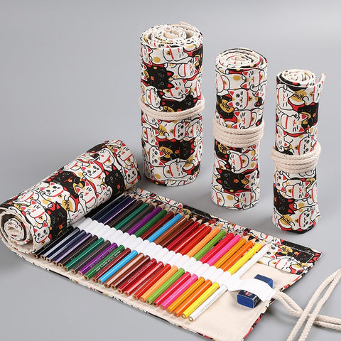 Kawaii Cat Roll Pencil Case Roll - 36/48/72 Holes - squishbeans