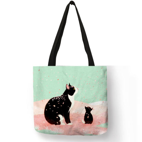 Cute Kitty Cat Print Tote Bag - 3 Styles - squishbeans