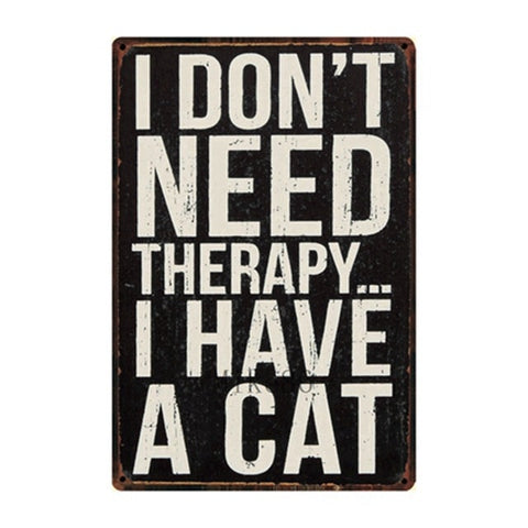 Vintage-Style Cat Metal Sign - Therapy Cat