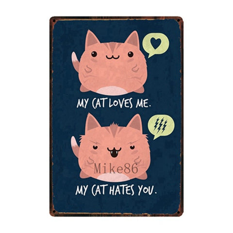 Vintage-Style Cat Metal Sign - My Cat Hates You
