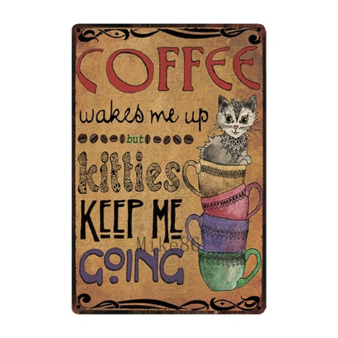 Vintage-Style Cat Metal Sign - Coffee & Kitties