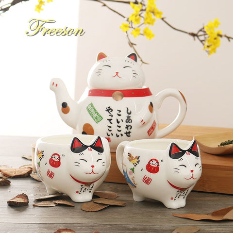 Maneki Neko Ceramic Tea Set - squishbeans