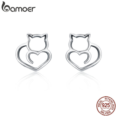 925 Sterling Silver Cat Stud Earrings - squishbeans