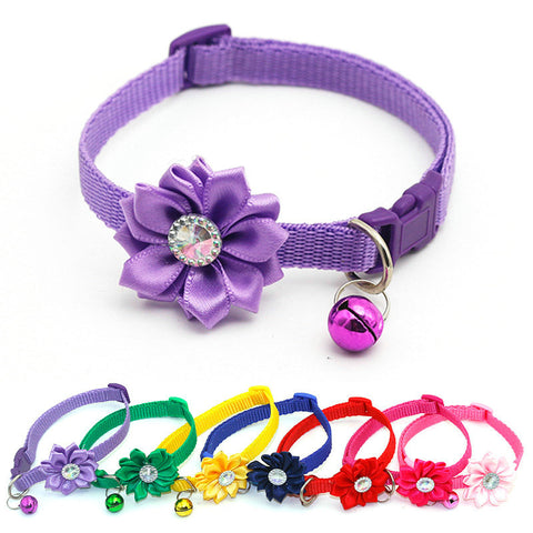 Lovely Flower Cat Collar With Bells - squishbeans