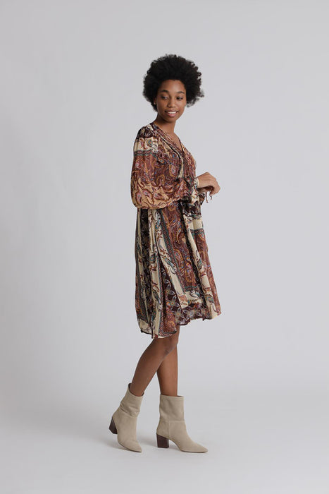Short dress paisley feather