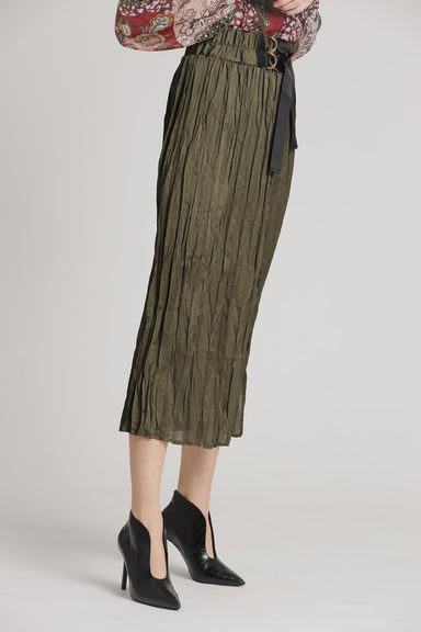 Khaki plissee skirt ribs tape