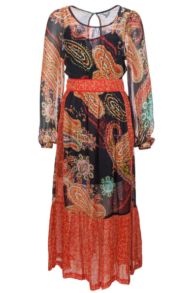 Long patch paisley dress