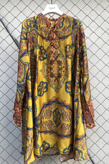 India flowers tunic tucking
