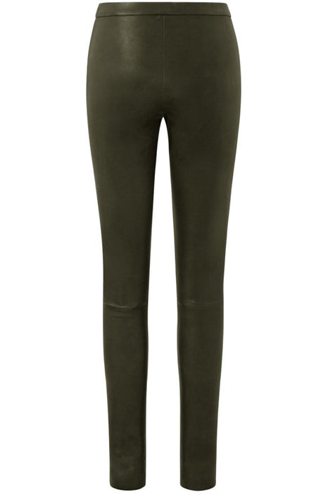 Plain leather pants with zip at top