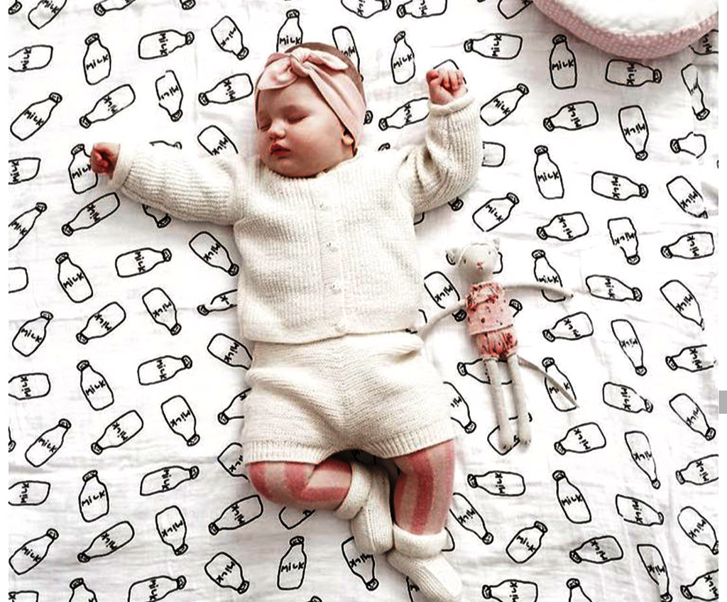 Cutie Milk Cotton  Muslin Swaddle  & Blanket