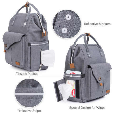 Image of Elegant Linen Multi-function Diaper Bag
