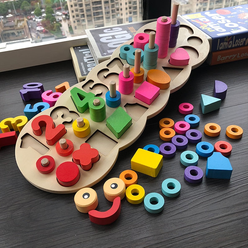 Children Wooden Educational Game of Numbers and Shapes