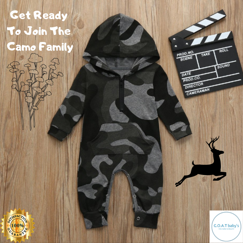 Unisex Hooded baby camouflage romper Bodysuit