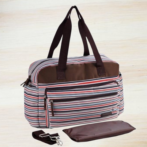 Image of Stylish Striped  Large capacity Diaper Bag