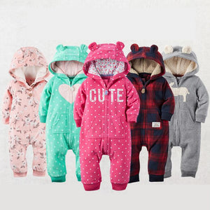 Warm Fleece Animal Baby Romper