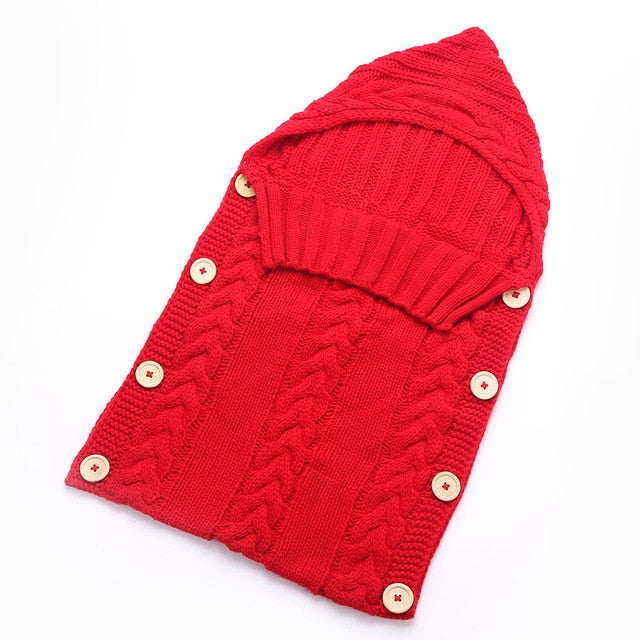 Knitted Crochet Hooded  baby Sleeping bag